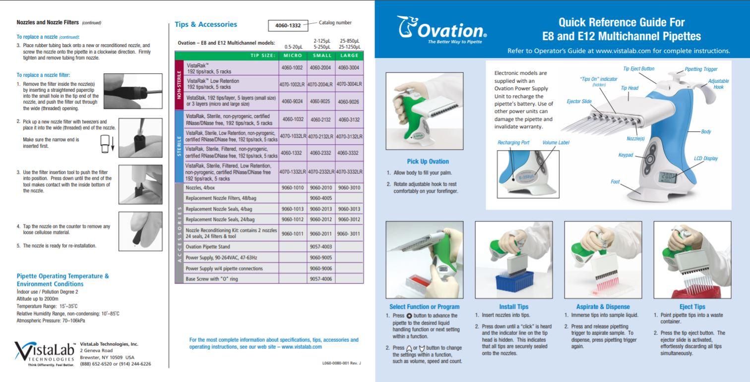 Vista Lab Ovation Electronic Multichannel Pipette